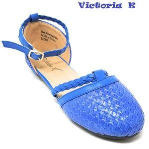 Women Braided Ballerina Flats, B-2281, Blue
